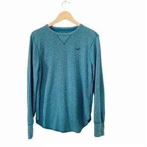 Hollister Blue Waffle Henley Long Sleeve Shirt